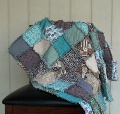 Blue, Grey, Taupe, Tan Modern Rag Quilt!