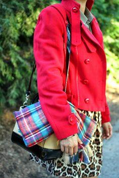 Rocks Fashion Bug: Tartan and Leopard Plaid Scarf, Red Coat, Leopard Skirt, Olive shirt #holidaystyle #patterns #style #rocksfashionbug