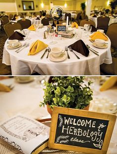 Harry potter table numbers - Greg Obierek Photography via Hostess With The Mostess Awesome way to do this! Assign guests to a class instead of a table number! Harry Potter Tisch, Harry Potter Table, Harry Potter Fiesta, Harry Potter Wedding, Harry Potter Birthday, Wedding Themes, Wedding Ideas, Wedding Stuff, Wedding Decorations