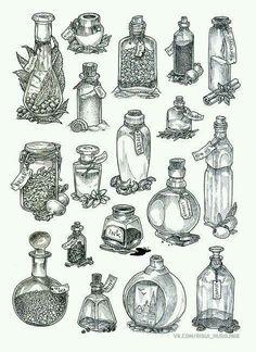 Tatoo Art, Body Art Tattoos, Tattoo Drawings, Art Drawings, Bottle Drawing, Bottle Tattoo, Illustration, Book Of Shadows, Wicca