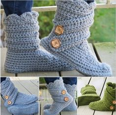 How to DIY Crochet Ladies Buttoned Cuff Slipper Booties (Video) | www.FabArtDIY.com