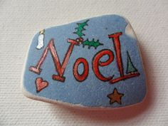 NOEL  Hand painted beach pottery Christmas by ShePaintsSeaglass