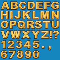 Un positionnement d'alphabet de l'or cisel�s lettres majuscules et chiffres photo