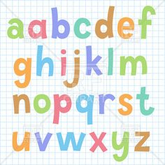 Colorful hand drawn cartoon alphabet on checkered paper, download royalty-free vector clipart (EPS)