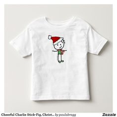 Cheerful Charlie Stick-Fig, Christmas Holiday T-shirt & apparel:   Cheerful Charlie, a cute cartoon stick figure, celebrates the the happy holiday season of Christmas with a festive red scarf, green shirt and red santa hat. --This simple, humorous image appeals to all ages & genders and delivers a 'Merry Christmas feeling'. Original cartoon drawing by Paula Bragg.   -Image appears on variety of products such as cards & posters, t-shirts & apparel, home decor, mugs & kitchen ware and more.