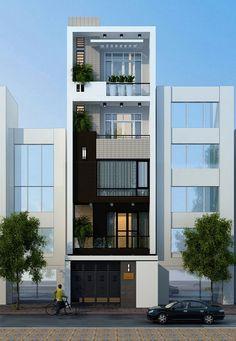 3 Storey House Design, House Front Design, Modern House Design, Home Building Design, Building A House, Bungalow Haus Design, Narrow House Designs, Street House, 3d Home