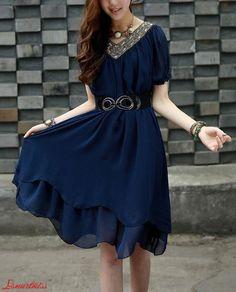 Cyan Chiffon dress large size dress chiffon blouse por lsmartmiss