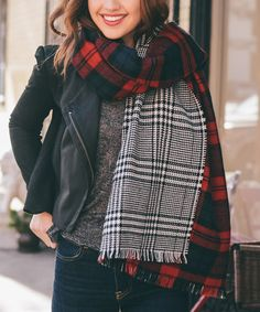 Another great find on #zulily! Red & Black Plaid Blanket Scarf by Leto Collection #zulilyfinds