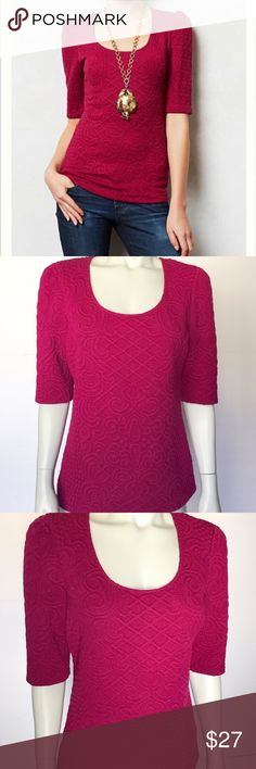 • Anthropologie • Deletta pink jacquard blouse Gorgeous athlone knit jacquard scoop neck top by Deletta. Elbow length sleeves on this pink textured shirt. So soft and comfortable! Subtle pattern adds elegance to this lovely shirt. Very pretty and versatile! Anthropologie Tops Blouses