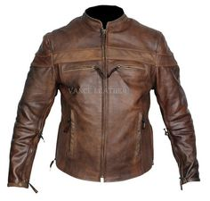 Cool retro brown mens leather racer motorcycle jacket