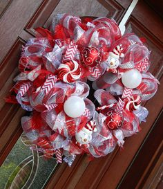 Deco Mesh Candy Cane Christmas Wreath, Snowman Holiday Peppermint Wreath, Red Silver holiday wreath Christmas in July Christmas Mesh Wreaths, Christmas Crafts, Christmas Kitchen, White Christmas, Beautiful Christmas Decorations, Winter Decorations, Seasonal Decor, Wreath Crafts, Wreath Ideas