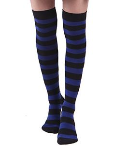 6786e84c5 Women s Extra Long Striped Socks Over Knee High Opaque St... https