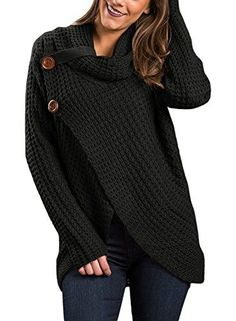 5be8466be109 Women Button Down Long Sleeve Turtleneck Knit Hooded Cardigan Sweater