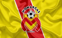 Download wallpapers Monarcas FC, 4K, Mexican Football Club, emblem, Monarcas logo, sign, football, Primera Division, Mexico Soccer Championship, Morelia, Mexico, silk flag