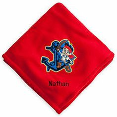 Disney Jake Fleece Throw - Personalizable | Disney StoreJake Fleece Throw - Personalizable - To keep crew members cozy until they reach sunny shores, sail away to dreams of Never Land under our soft fleece throw with embroidered Jake appliqu�.