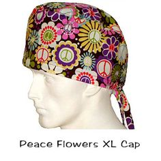 Scrub Surgical XL Caps Peace Flowers 100% cotton made in the USA