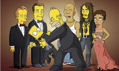 Homer and Bart Simpson with celebrity guests including Ricky Gervais, Russell Brand and Halle Berry in 2011. Photograph: Fox