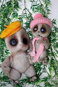 Купить Вязаные лемуры - серый, вязаная игрушка, Вязание крючком, вязание на заказ, интерьерная игрушка