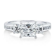 Size 6.5 - Solid 925 Sterling Silver Highest Quality CZ Cubic Zirconia 3 Three Stone Engagement Ring - Princess Cut Solitaire with Round Side Stones (1.75cttw., 1.5ct. Center) - With Elegant Velvet Ring Box
