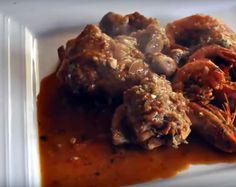 Conejo encebollado con gambas (Cocina española – Mallorca)
