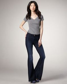 7 For All Mankind High Waist Flare Deep Blue Creek Jeans - Neiman Marcus