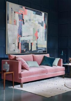Contemporary painting on canvas #XB31A large abstract painting, navy, blue, pink, gray, by CZ Art Design #CelineZiangArt