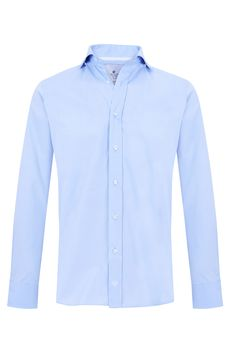 "Blue pinpoint oxford ""Broadway"" shirt w/ logo embroidered in bright white. 100% cotton Available in Slim Fit & Classic Fit"