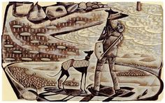 'Taking in the View' wood engraving by Neil Bousfield 195 x 120 mm #TakingInTheView #neilbousfield #woodengraving #printmaking #Norfolk #coast #art #whippets