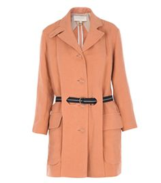 Linen And Cotton Coat by Vanessa Bruno. Peach. Centre front double layer panel. Buttoned centre front. Two front flap pockets. Single vent. Long sleeves. Linen and cotton coat. Navy belt. Belt loops through front panel. #Matchesfashion