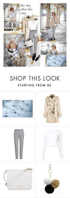 """Outfit #26"" by perplexidadesilencio ❤ liked on Polyvore featuring Burberry, Altuzarra, Proenza Schouler, Furla, Under One Sky, Brash Bijoux, plaid, rainyday, cigarette and trenchcoat"