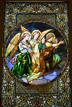Painted stained glass window - possibly F. Mayer of Munich...  Studio - Franz Mayer of Munich