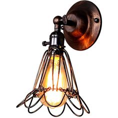 Retro Industrial Style Lily Shape Wall Sconce (€16) ❤ liked on Polyvore featuring home, lighting, wall lights, iron sconces, flower lamp, flower pendant light, flower lights and iron lighting