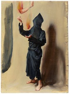 """Michael Borremans """"Juggling with Fiery Limbs"""" (oil on canvas)"""