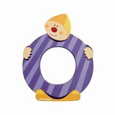 Lettres alphabet Clown en bois<BR>Lettre O<BR>JANOD