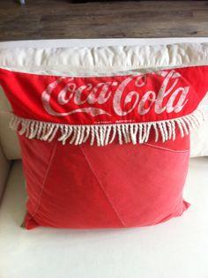 Vintage Coke parasol cushions