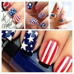 Fourth of July Nails | Independence Day | Memorial Day | patriotic nail art | American flag nails | stars and stripes | red, white, blue