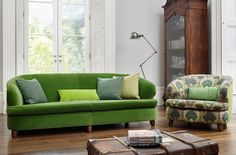 Jumbo Tub Chair and sofa, this is super comfy and stylish, in a Designers Guild Green Velvet. Bespoke Printed linen on the Tub chair