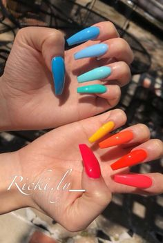 There are three kinds of fake nails which all come from the family of plastics. Acrylic nails are a liquid and powder mix. They are mixed in front of you and then they are brushed onto your nails and shaped. These nails are air dried. Best Acrylic Nails, Acrylic Nail Designs, Nail Art Designs, Nails Design, Acrylic Nail Art, Coffin Nail Designs, Acrylic Summer Nails Coffin, Coffin Nails 2018, Funky Nail Designs