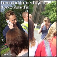 This was so sweet! Tom Hiddleston being a darling to even absent fans at the set of High Rise, Northern Ireland, July 2014