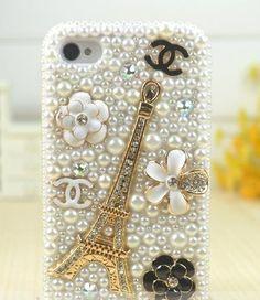 Sole Trader New Iphone 4/4s Protective Hard Case Swarovski Diamond White Pearl Eiffel Tower Skin Cover