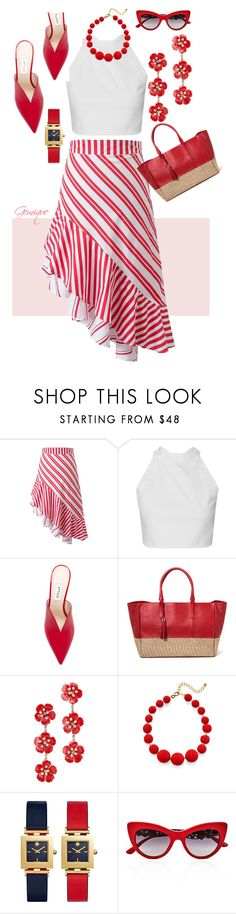 """Red Flair"" by gemique ❤ liked on Polyvore featuring Attico, Jennifer Behr, Kenneth Jay Lane, Tory Burch and Dolce&Gabbana"