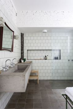 concrete sink / counter - open shower