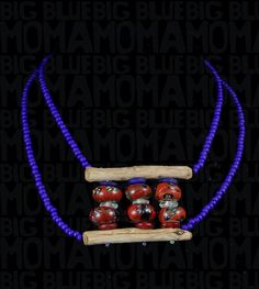 This blue and red piece was created using refurbished antique glass trade beads, driftwood and a few bottle beads. Driftwood Jewelry, Rustic Jewelry, Antique Glass, Recycled Glass, Glass Beads, Moma, Bottle, Antiques, Create