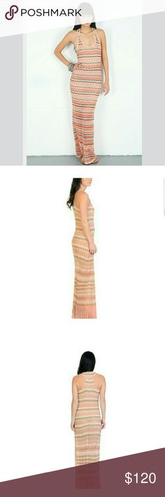 Haute Hippie Chevron Maxi Dress Sleeveless This gorgeous sleeveless Maxi Dress by Haute Hippie is super comfy and extremely figure flattering.  Main colors are peach and ivory.  Racer Back detail!  Good condition! Haute Hippie Dresses Maxi