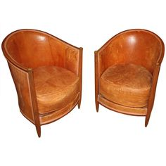Pair Of Pee Art Deco Leather Club Chairs Small