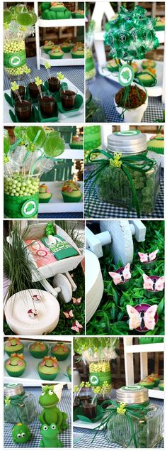 Jahzz ☯    .. #Kids Party, #Frog theme (cupcakes, frogs sweets, great ideas)