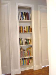 Trendy Home Library Diy Hallways 24 Ideas Closet Library, Home Library Diy, Bookshelf Closet, Closet Built Ins, Bookshelf Design, Bookshelf Ideas, Hall Closet, Tiny Closet, Mini Library