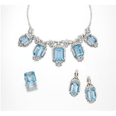 Aquamarine and diamond parure, 1950s Comprising: a necklace set to the front with five graduated step-cut aquamarines, each set within a frame of brilliant-cut diamonds and loose ribbon motifs set with single-cut stones, suspended from a diamond set garland; a pair of pendent earclips and a ring en suite, size 51, one small diamond deficient, all mounted in platinum.