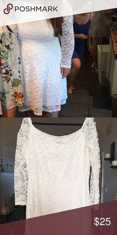 FTF Off-shoulder Lace White dress Beautiful bright white Lace off the shoulder dress from Fashion to Figure, size 2. Perfect for your bridal shower or rehearsal dinner! (Worn once for 4 hours for my own bridal shower) Fashion to Figure Dresses