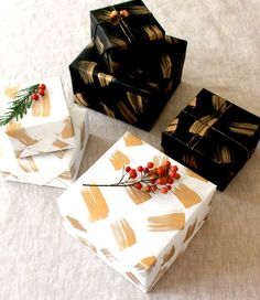 Beautiful black, white and gold holiday wrapping paper